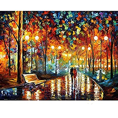 1000 Pieces Puzzles Wooden Jigsaw Puzzles Floor Puzzle Intellectual Game Learning Education Decompression Toys for Adults Kids - Walking in The Rain Night: Toys & Games