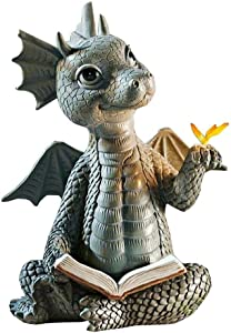 QIANSHENG Dragon Reading Book Statue Dinosaur Holding Butterfly Figurines Art Resin Sculpture Outdoor Garden Decor Home Desk Ornament