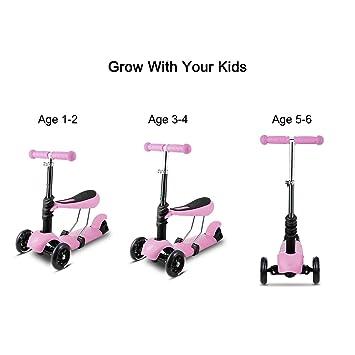 Patinete 3 en 1 para niños con 3 ruedas, asa ajustable en T ...