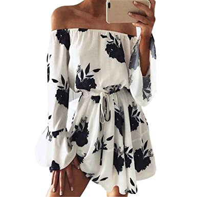 1099d1cfaa7 Mandystore Womens Off Shoulder Dress Floral Printed Long Sleeve Beach Dress  with Belt (S
