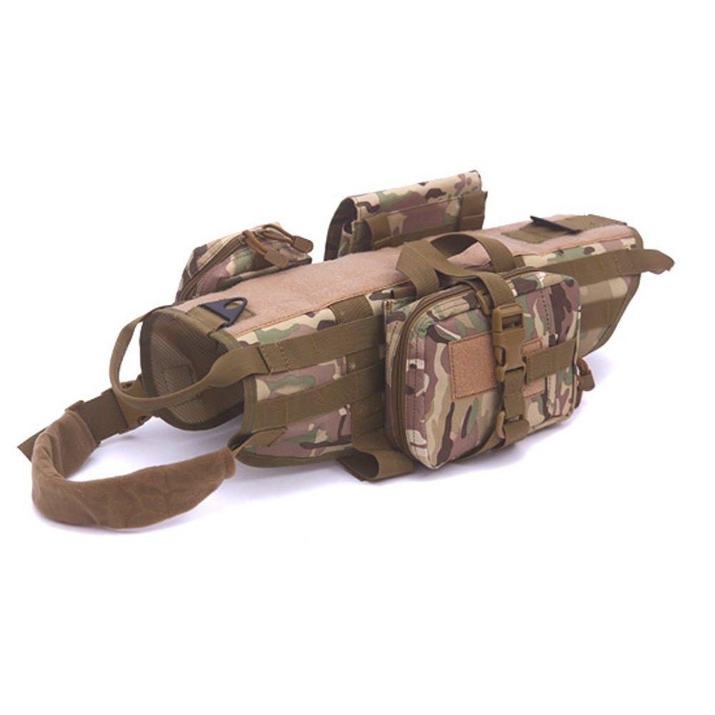 X-Large YAOBAO Tactical Vest Adjustable Pet Vest Detachable Pouches