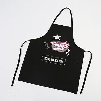 HANSHI - Delantal de cocina para barbacoa de chef de 100% algodón, diseño divertido