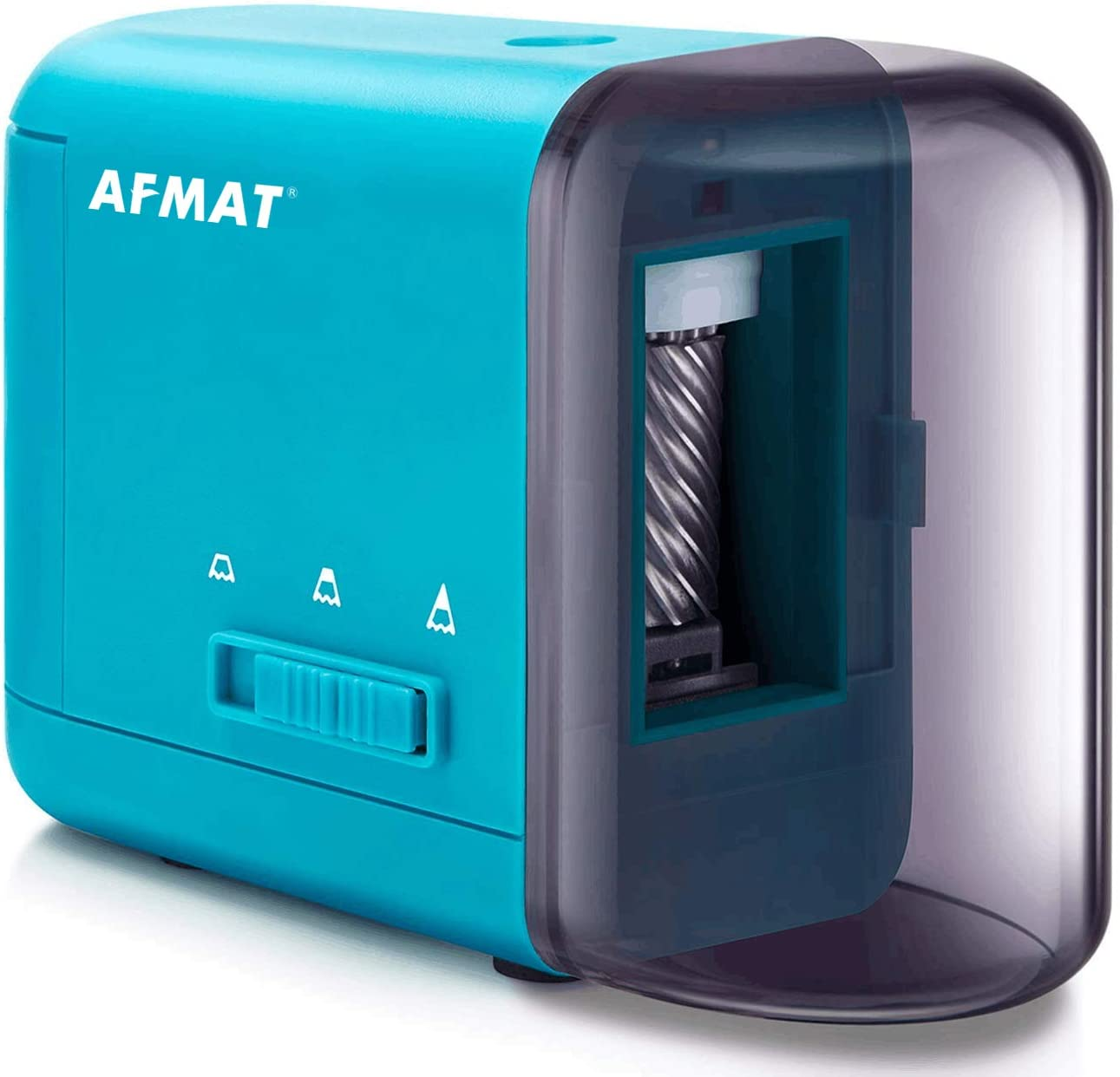 AFMAT Colored Pencil Sharpener, Electric Pencil Sharpener for Colored Pencils(6-8mm), Fast Sharpen, 3 Settings, Portable Pencil Sharpener for Kids, AC/USB/AA Battery Operated with Adapter