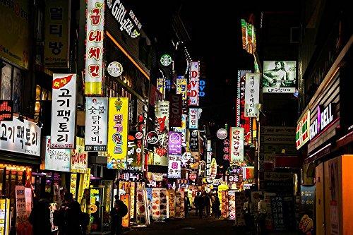 LAMINATED 36x24 inches POSTER: Nightlife Republic Of Korea Jongno Signboard Lighting Night Of Korea Seoul Night In The Evening Neon Korea Building Street