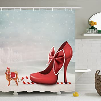 Amazon.com: High Heel Lady Shoes Shower Curtain-Polyester Waterproof ...
