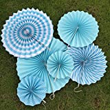 Susenstone Tissue Paper Party Wedding Birthday Hanging Fiesta Paper Blue Fan Decorations