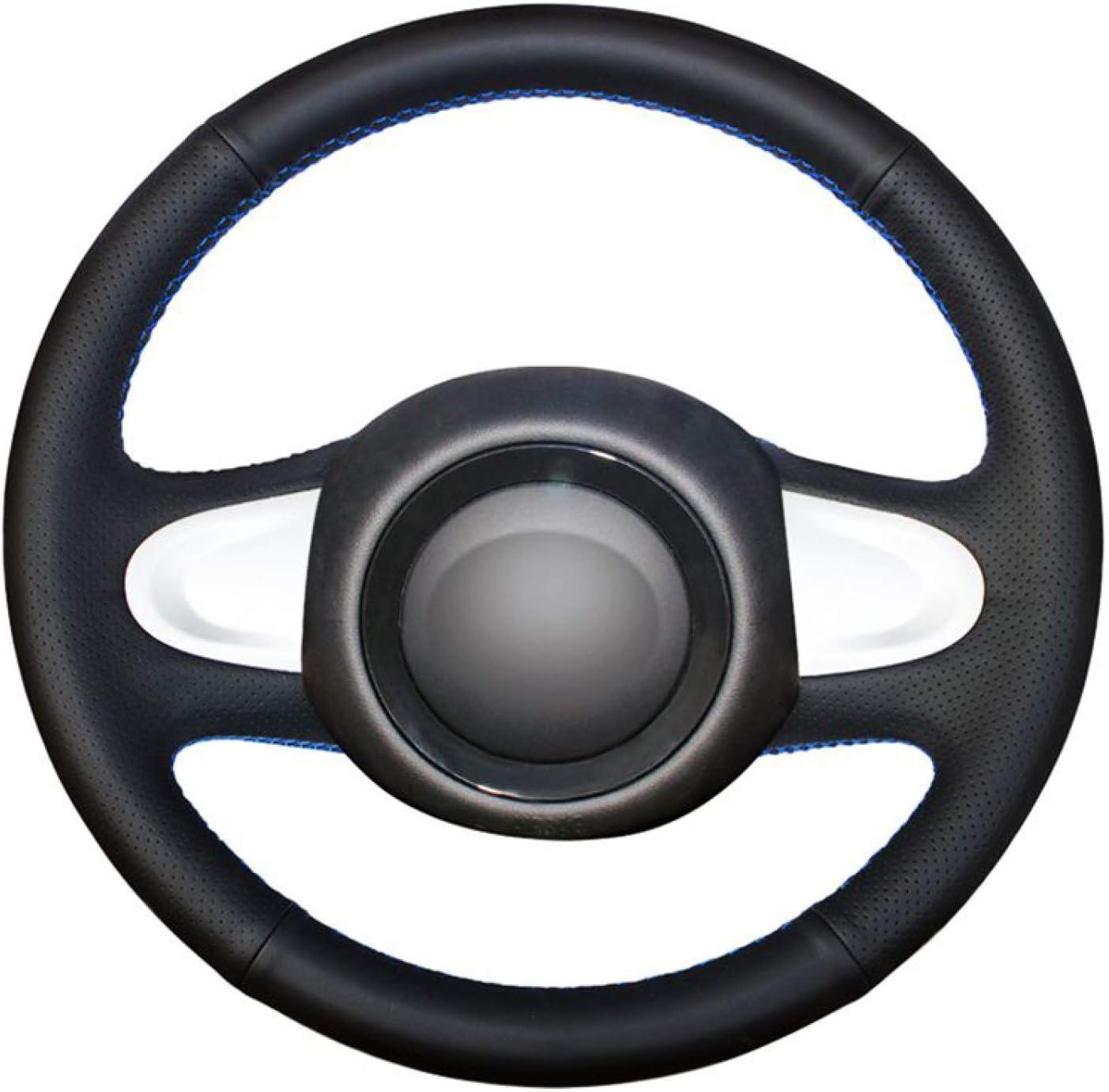 CarWorld para Mini Coupe 2013 (2 radios), Fundas de Volante de Cuero Artificial PU Negro, Funda de Volante de Coche Cosida a Mano