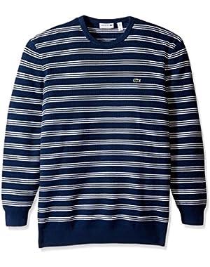 Men's Waffle Stitch Stripe Cotton Sweater