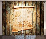 Cheap Island Map Decor Curtains Treasure Map on Rustic Timber X Marks the Spot of Gold Nautical Pirates Concept Living Room Bedroom Decor 2 Panel Set Cream Brown