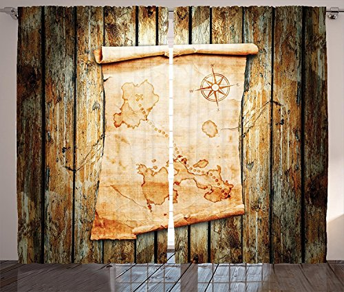 Island Map Decor Curtains Treasure Map on Rustic Timber X Marks the Spot of Gold Nautical Pirates Concept Living Room Bedroom Decor 2 Panel Set Cream Brown For Sale