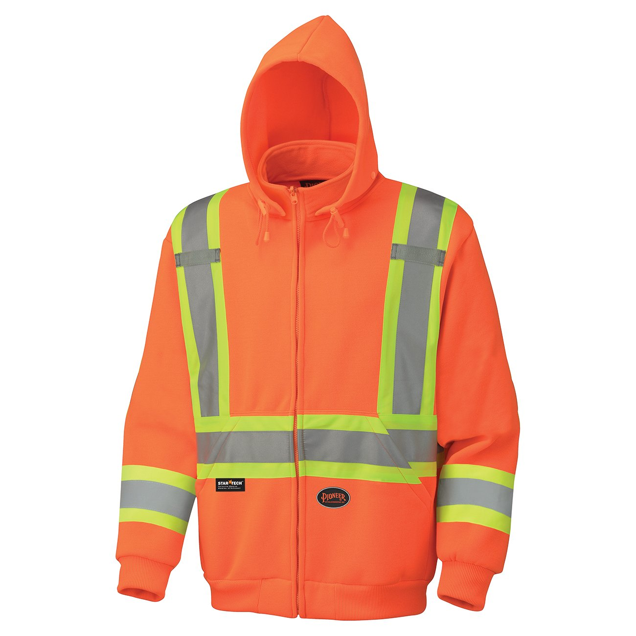 Pioneer V1060471-S High Visibility Work Hoodie, Polyester Fleece, Black, S