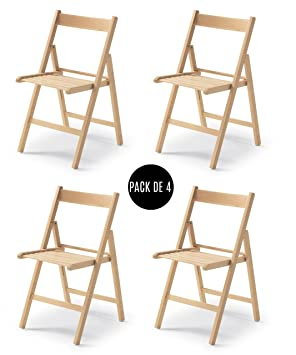 Tued - Silla plegable. Pack de 4 sillas plegables (Natural)