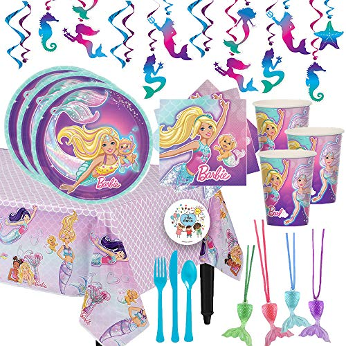 Our Deluxe Mermaid Barbie Birthday Party Supplies Pack For 12 Guests With Dessert Plates and Napkins, Tablecover, Cutlery, Cups, 12 Mermaid Tail Necklaces, Mermaid Swirl Decorations, and Exclusive Pin -