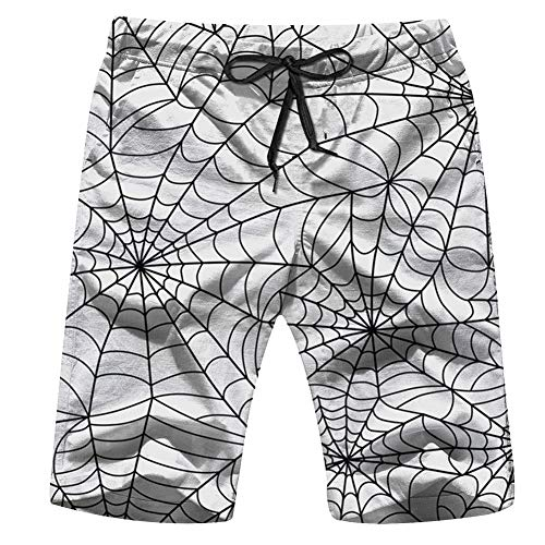 Cool pillow Halloween Web Spider Grey Holidays Men's Swim Trunks Beach Short Board Shorts XL]()
