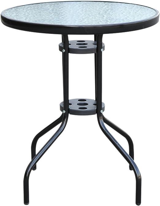 Outsunny Mesa Redonda de Bar con Tablero de Cristal Templado; Ideal para el Comedor, el jardín o Exteriores; 60 cm de diámetro: Amazon.es: Jardín