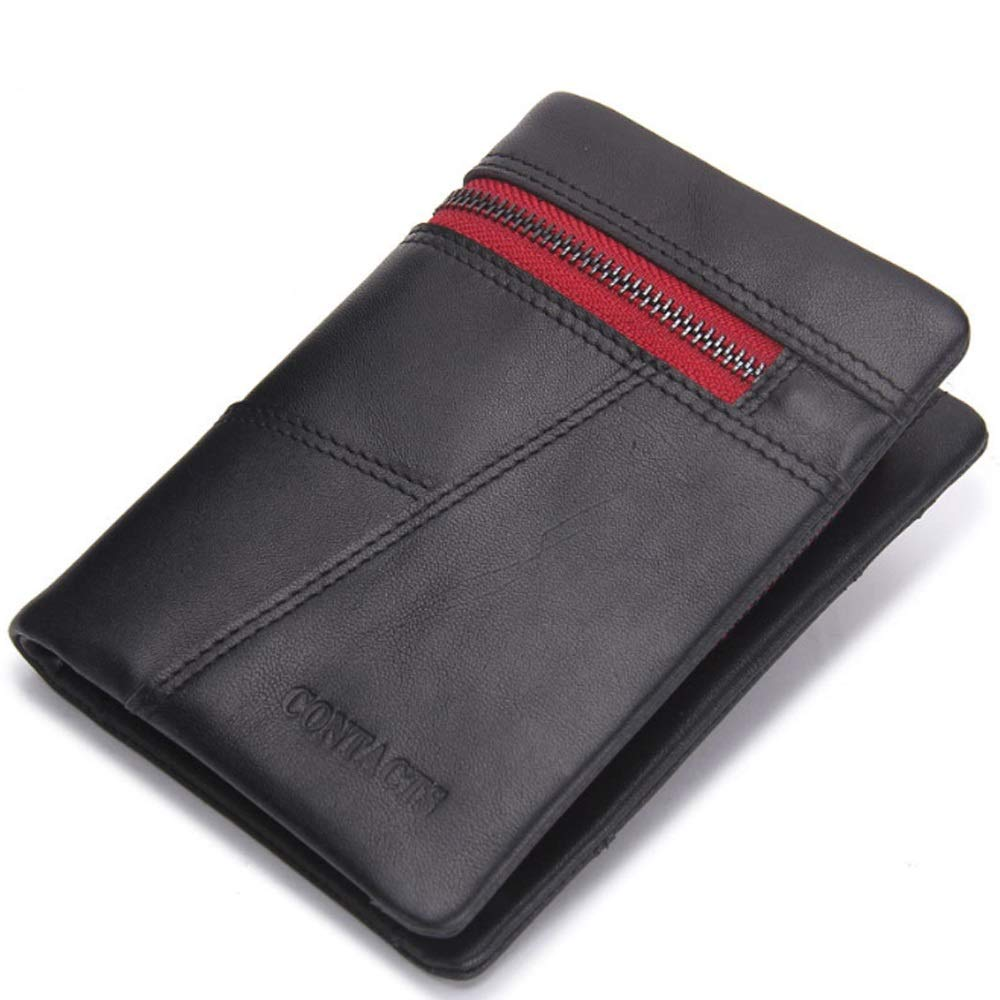 Color : Black, Size : S MUMUWU Mens Wallet Leather Short Three-fold Coin Purse Fashion Stitching Clutch Card Bag