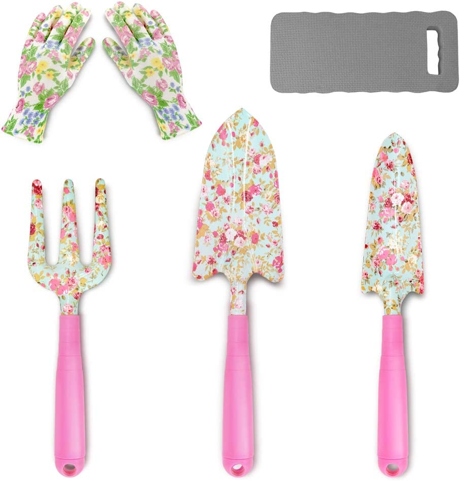 Colwelt Floral Garden Tool Set 5PCS, Gardening Kit with Beautiful Print and Plastic Handles, Gardening Gifts Tools for Women with Transplant Trowel, Trowel, Fork, Garden Gloves and Kneeling Pad