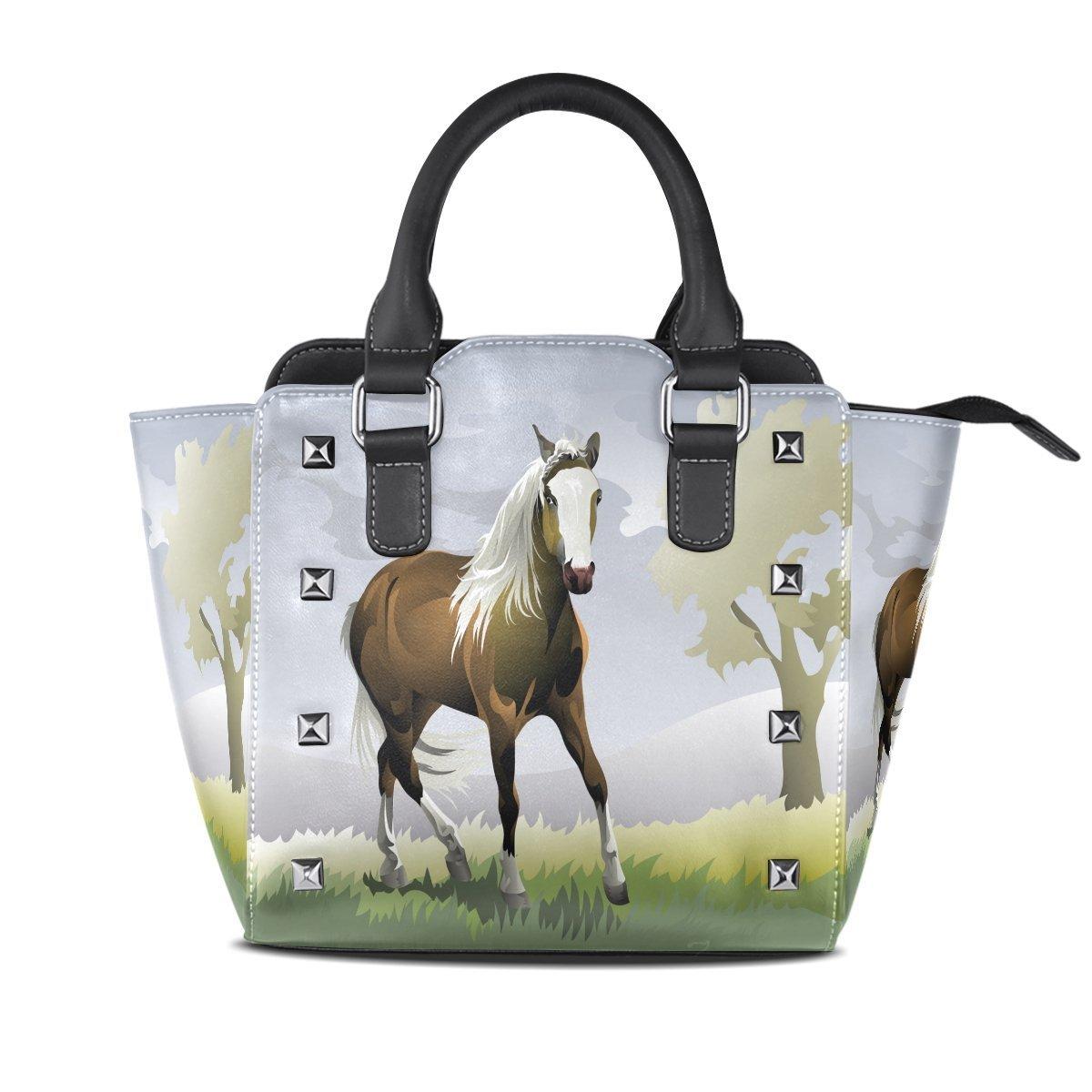 de008db8648 Amazon.com: Ladies Genuine Leather Tote Bags Running Horse Womens ...