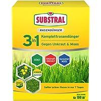 Substral Celaflor 3in1 Komplett Rasendünger mit Unkrautvernichter und Moosvernichter gegen Unkraut Klee, Löwenzahn, Moos, für dichten, grünen Rasen, nicht bienengefährlich
