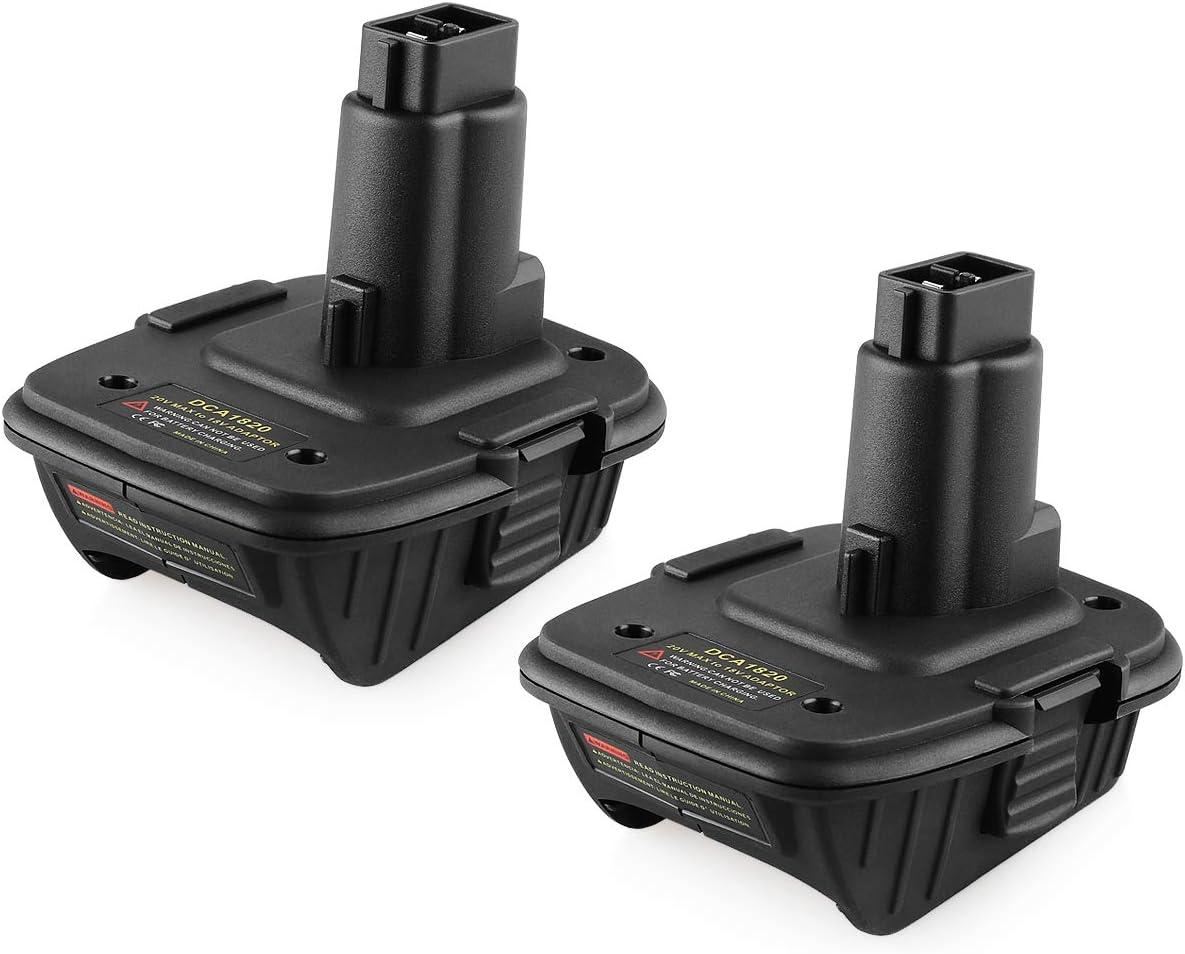Energup Replacement 2Pack DCA1820 20V Battery Adapter for Dewalt 18V Convert Dewalt 20V Lithium Battery DCB205 to Dewalt 18V NiCad NiMh Battery Tools DC9096 DC9099 DW9099 Dewalt 18v to 20v Adapter