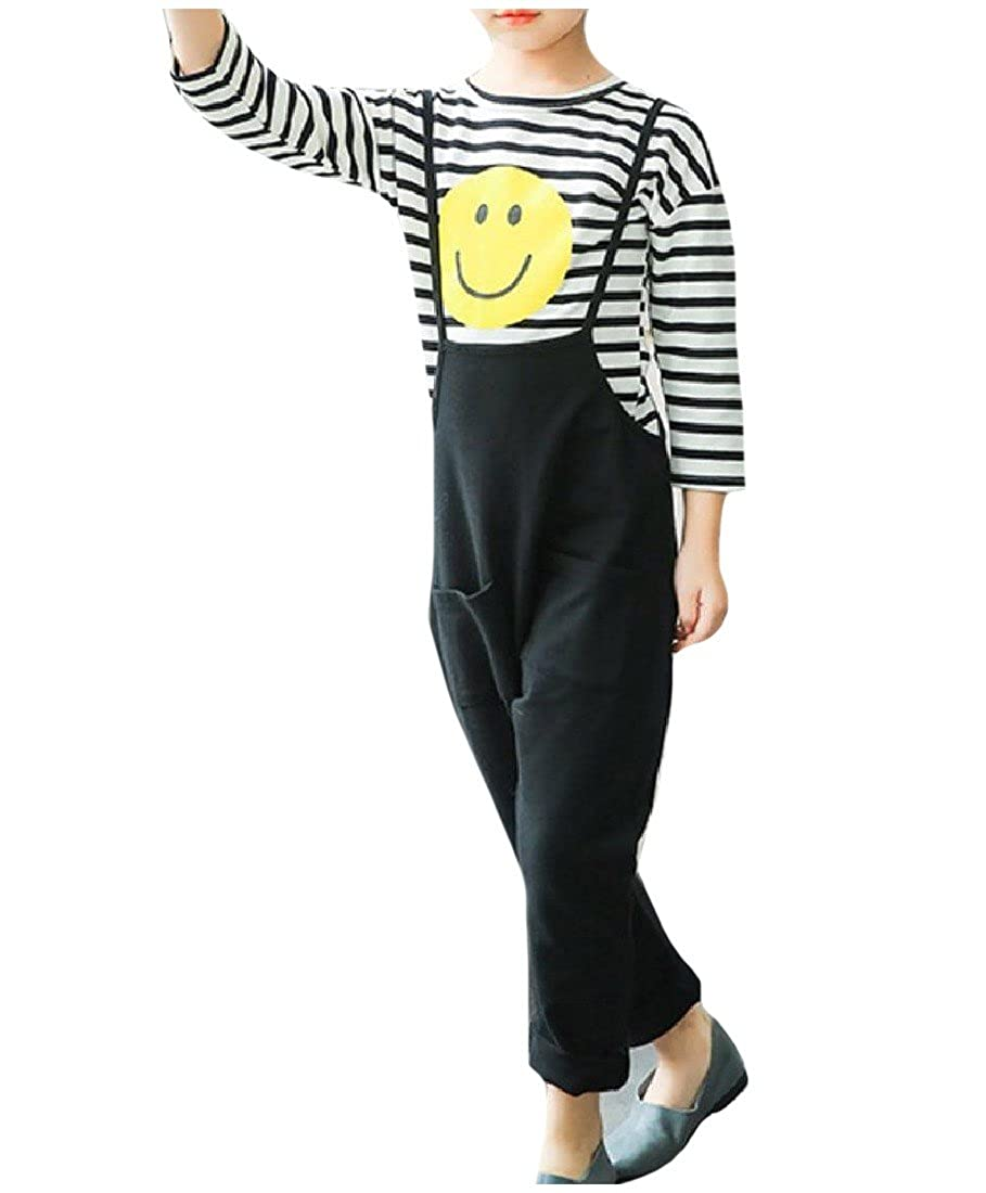 CuteRose Big Girls Spring//Fall 2 Piece Casual Top and Pant Overalls Set