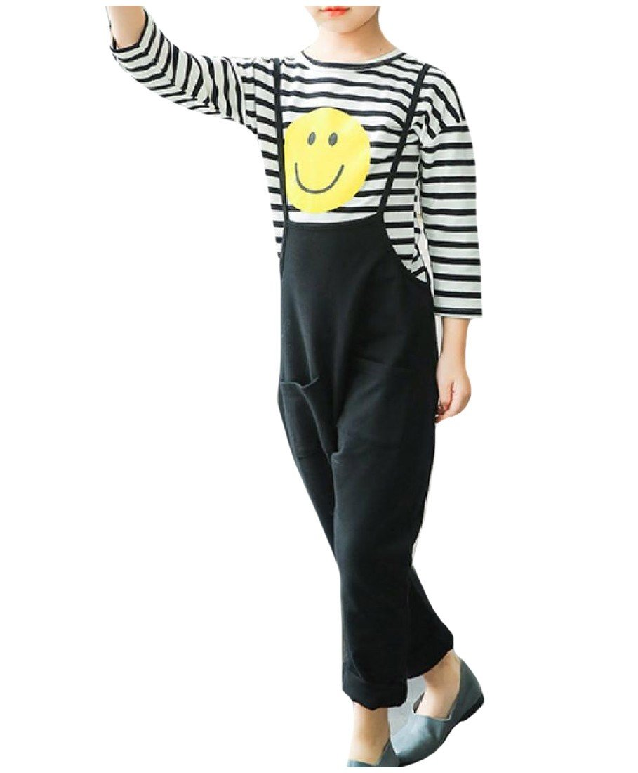 Sheng Xi Girls Stripes Casual Fine Cotton Tops +Pants Overalls Outfits Black 120 by Sheng XiBaby (Image #1)