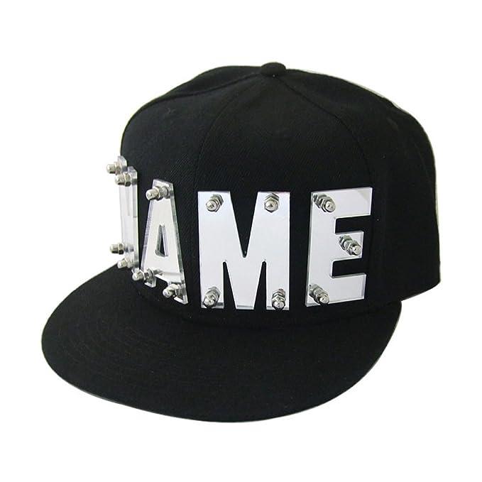 6c769d3fddbc31 Amazon.com: weddinghanger2015 Mirror Silver Mirror Gold Acrylic Letters Hat,  Custom Name Caps, Hip Hop Snapback, Personalized Hats Baseball Cap (Mirror  Gold ...