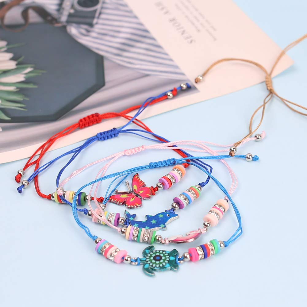 LovesTown 14Pcs Children Bracelets, AdjustableKids Friendship Bracelets Jewelry Animal Pendant Woven Bracelets for Prize Pretend Play Party Favors for Girls Kids