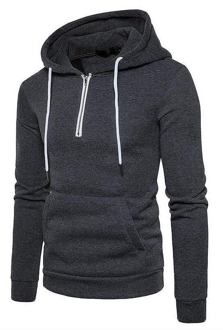 Teapolity Men Solid Color Hooded Half-Zip Sport Drawstring Pocket Front Hoodie Sweatshirt