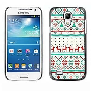 Caucho caso de Shell duro de la cubierta de accesorios de protección BY RAYDREAMMM - Samsung Galaxy S4 Mini i9190 MINI VERSION! - Winter Pattern Reindeer Sweater