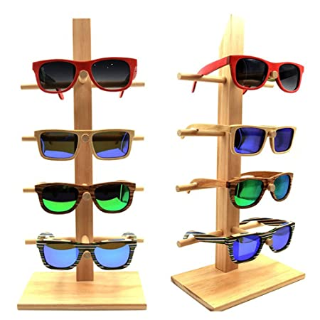 f93266f25e34 Wood Glasses Racks For 4 Glasses Fashion Sunglasses Display Stand Bamboo  Holder Removable Shelf: Amazon.co.uk: Kitchen & Home