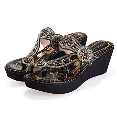 02a3e92a3373f Mobnau Womens Jeweled Leather Flip Flops Wedge Sandles Thong Sandals Black  36 5.5 D(M