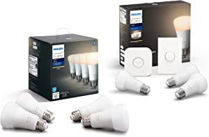 Philips Hue Smart Button Bundle – (7-A19 White 2700K Dimmable Bulbs, Hue Hub, Smart Button), Compatible with Alexa & Google Assistant