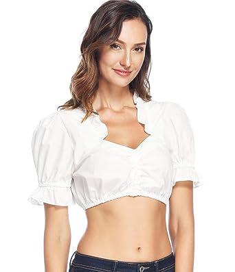 d6180cc5736966 Lever Damen Dirndlbluse Mit Stehkragen Spitze Dirndl Bluse Weiß Baumwolle Trachten  Bluse 36 (S)