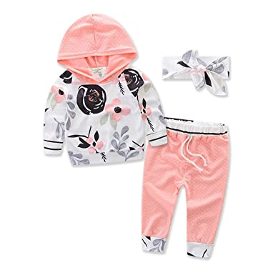 5115a4392fb8 Amazon.com: Toddler Baby Girls Floral Hooded T-Shirt Top + Pants Outfits  Set Kids Clothes: Clothing