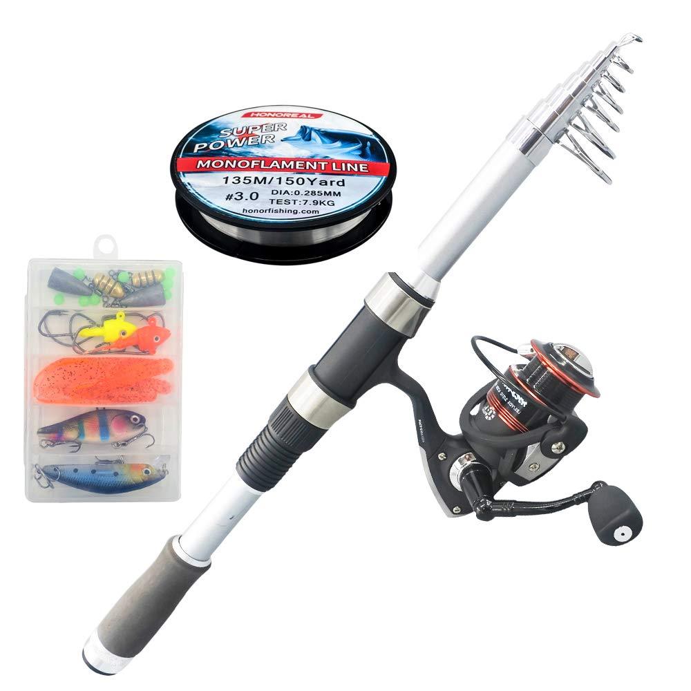 釣りセット、海釣りセット、釣り餌、釣り糸、カーボンテレスコピックポール、富士アクセサリー9 + 1アルミスピニングホイールセット 1.8m  B07PZKXN23