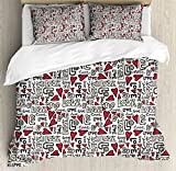 Ambesonne Love Duvet Cover Set Queen Size, Graffiti Style Valentine's Word with Hearts Couple Date Romantic Theme, Decorative 3 Piece Bedding Set with 2 Pillow Shams, Magenta Ivory Pale Green,