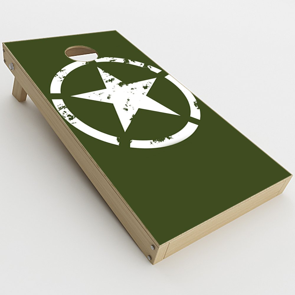 Skin Decal Vinyl Wrap for Cornhole Game Board Bag Toss (2xpcs.) Skins Stickers Cover / Green Army Star Military