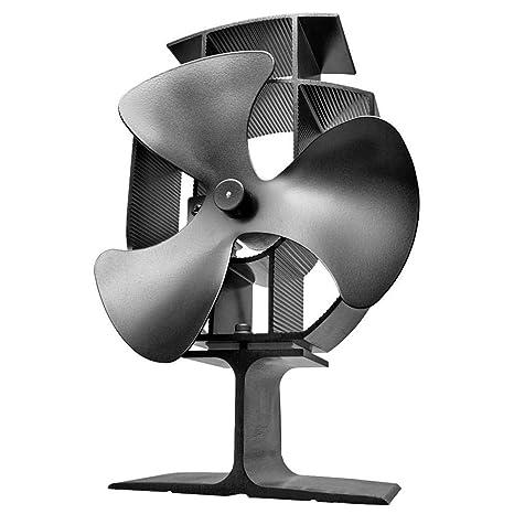 iBàste 22,5x12cm Ventilador de Chimenea Estufa de Energía Térmica Silencioso 3 Aspas Alumnio Respetuoso