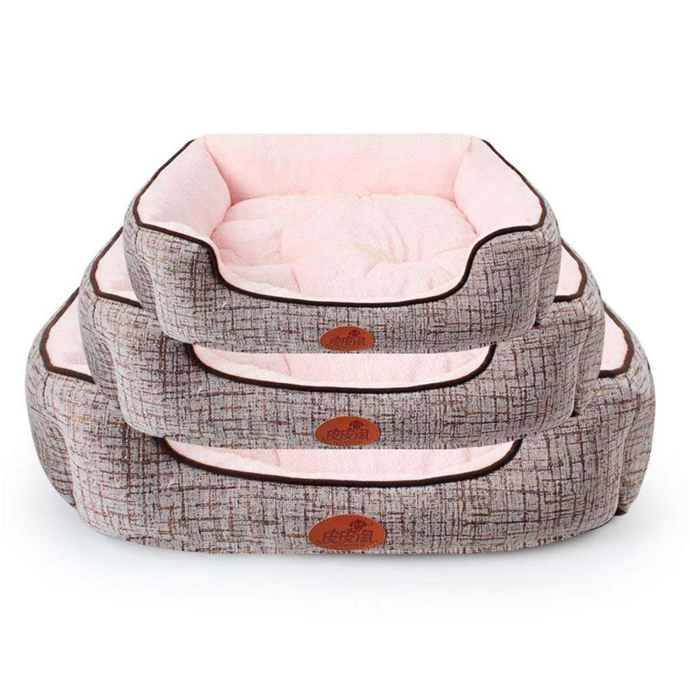 Pet Bolster Bed Cotton And Linen Arctic Edging Three-piece Kennel Pet Dog Mat Bed Set Autumn And Winter New