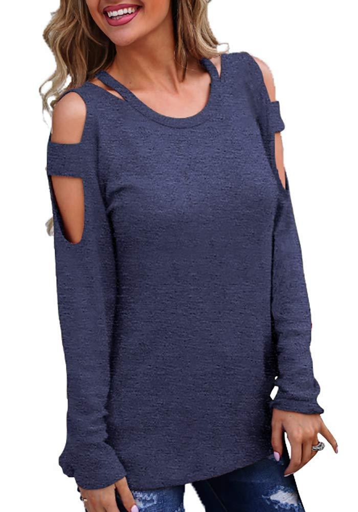 Jescakoo Womens Long Sleeve Cold Shoulder Tshirts Deep V Neck Tops Tees Navy XL