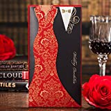 Wishmade Wedding Invitations Cards, Red, 100 Pieces, CW3072, Customized Printing