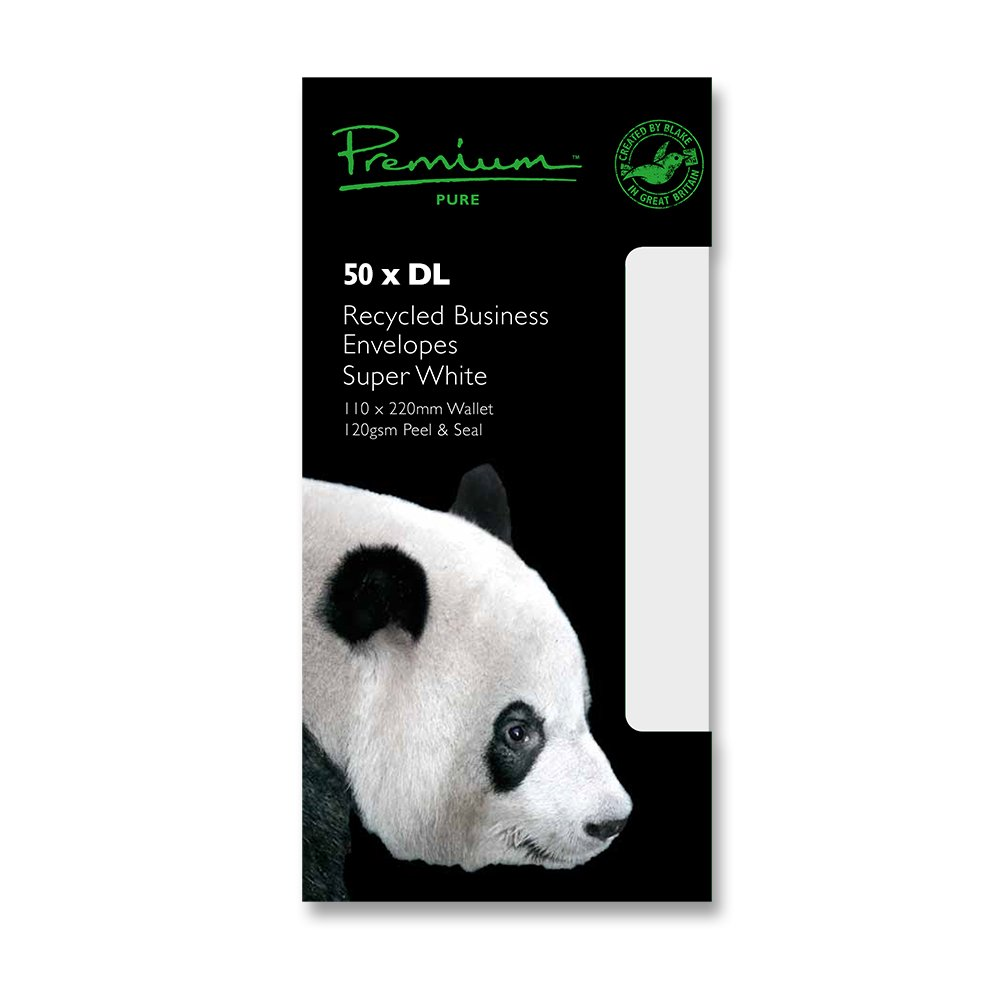Premium Pure DL 110 x 220 mm Peel and Seal Wove Recycled Wallet - Super White (Pack of 50) Blake RP81255