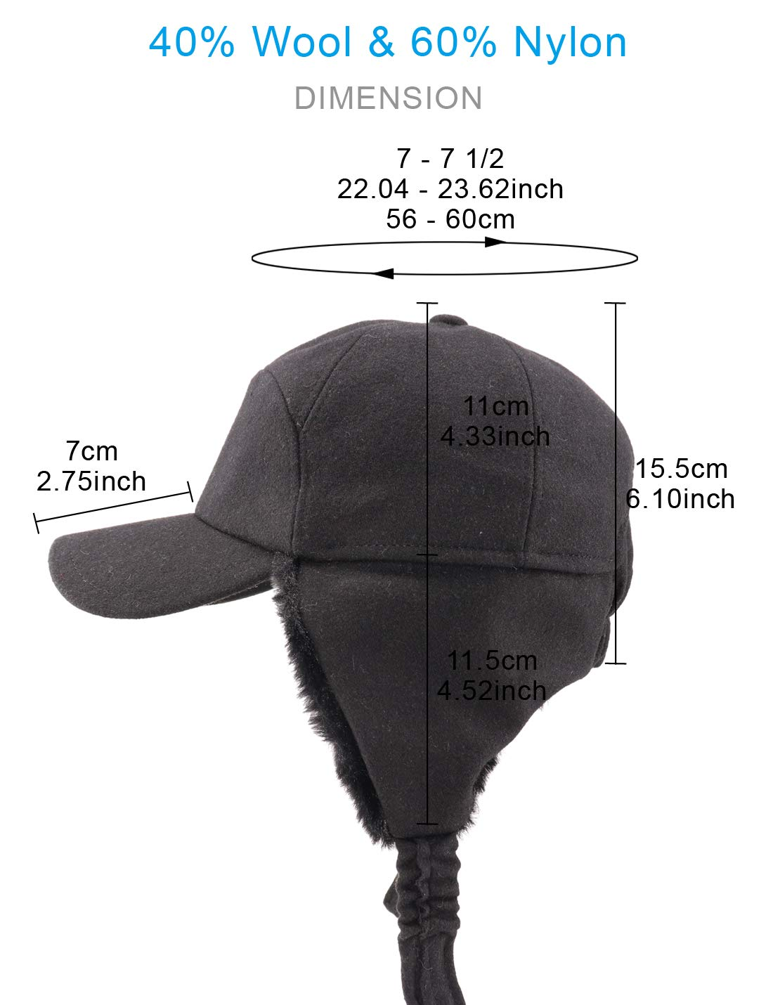 34e62f64325 Gisdanchz 7-7 1  2 Wool Baseball Hat with Visor and Ear Flaps Winter Warm  Cap for Men Women
