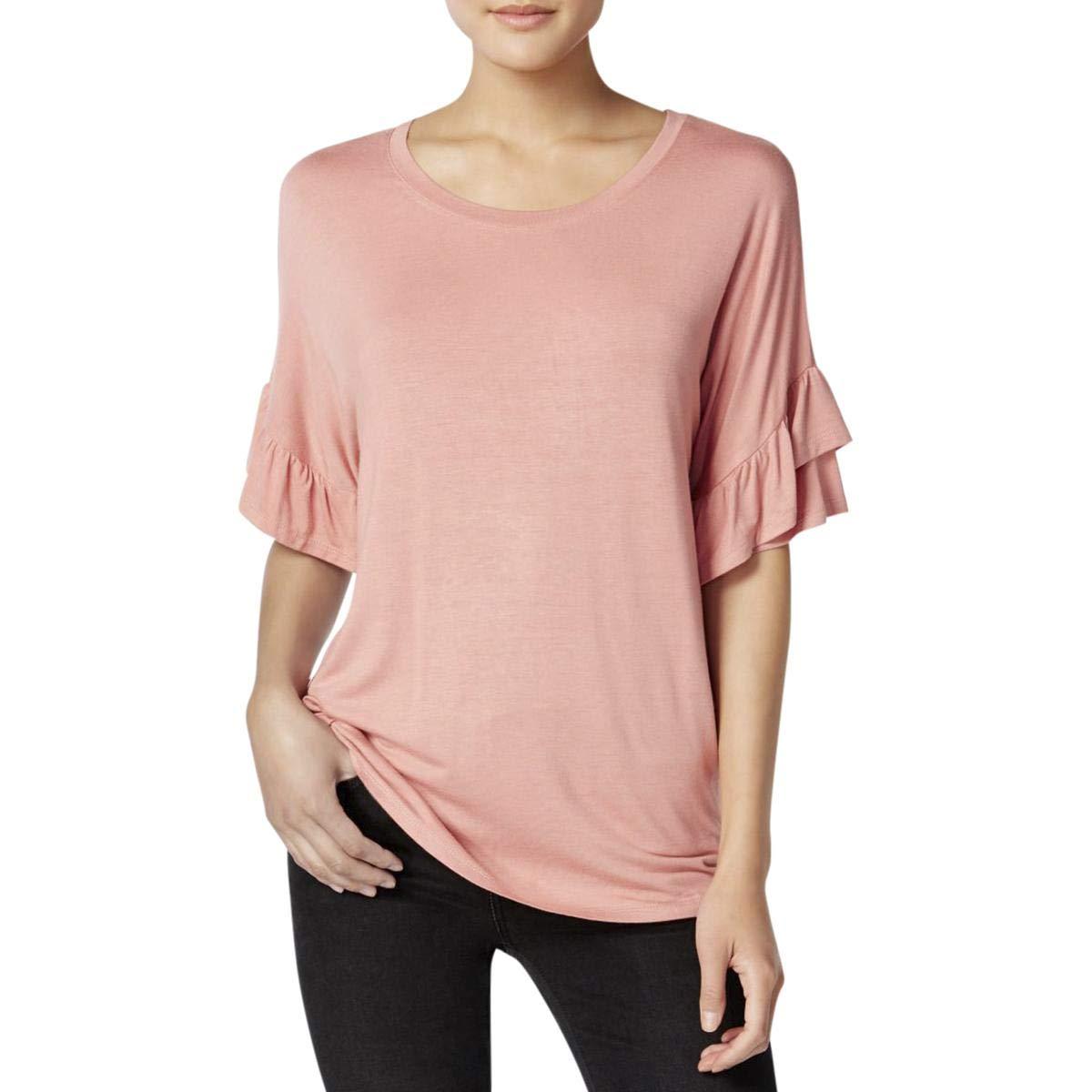 Jamie /& Layla Womens Ruffle Sleeve Crew Neck T-Shirt