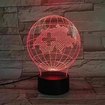 YDBDB Luz nocturna Mapa nacional Lámpara de mesa Escritorio 3D ...