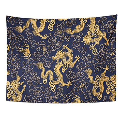 Emvency Tapestry Red Gold Chinese Traditional Golden Dragon and Peony Pattern Ancient Emperor Home Decor Wall Hanging for Living Room Bedroom Dorm 60x80 - Chinese Dragon Ancient