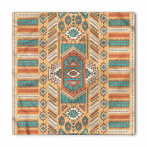 Tribal Bandana by Ambesonne, Ethnic Aztec Secret Tribe Pattern in Native American Bohemian Style, Printed Unisex Bandana Head and Neck Tie Scarf Headband, 22 X 22 Inches, Apricot Orange and Teal