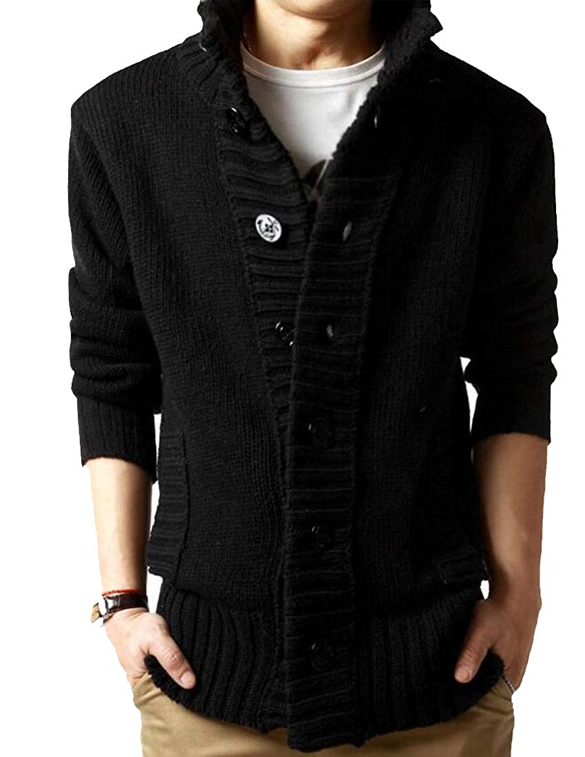 03cafdd4cf1 Pivaconis Men's Classic Fit Rib-Knit Stand Collar Button Up Cardigan ...