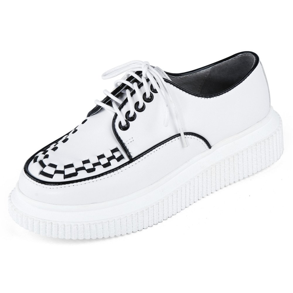 RoseG Femmes Cuir RoseG Lacets Plateforme Punk Blanc Creepers Creepers Décontracté Baskets Blanc 46bc83d - fast-weightloss-diet.space